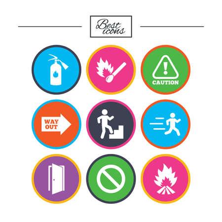 Brandveiligheid, noodsituatie pictogrammen. Brandblusser, afslag en aandacht signs. Let op, waterdruppel en uitweg symbolen. Classic eenvoudige vlakke pictogrammen. Vector