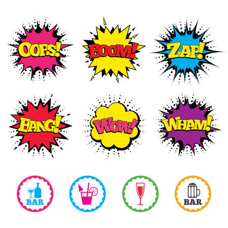 Comic Wow, Oops, Boom and Wham sound effects. Bar or Pub icons. Glass of beer and champagne signs. Alcohol drinks and cocktail symbols. Zap speech bubbles in pop art. Vector Illustration