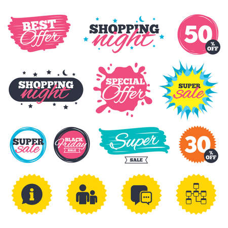 Sale shopping banners. Special offer splash. Information sign. Group of people and database symbols. Chat speech bubbles sign. Communication icons. Web badges and stickers. Best offer. Vector