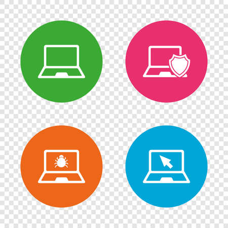Notebook laptop pc icons. Virus or software bug signs. Shield protection symbol. Mouse cursor pointer. Round buttons on transparent background. Vector