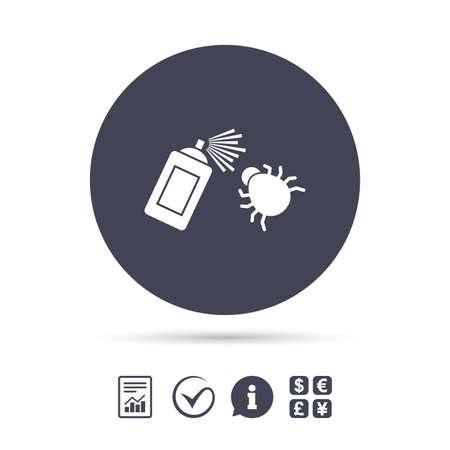 Icône de signe de désinfection de bogue. Symbole de fumigation. Bug pulvérisateur. Signaler le document, l'information et cocher les icônes. Échange de devises. Vecteur Banque d'images - 78276993