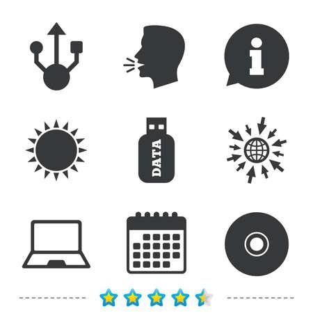 Usb フラッシュ ドライブのアイコン。ノートブックまたはラップトップ pc のシンボル。CD または DVD の符号。コンパクト ディスク。については、web