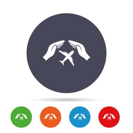 Vlucht verzekering teken pictogram. Handen beschermen het dekselvlaksymbool. Reisverzekering. Ronde kleurrijke knoppen met plat pictogrammen. Vector Stock Illustratie