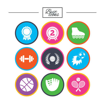 Sport games, fitness icons. Football, basketball and volleyball signs. Dumbbell, baseball and winner award symbols. Classic simple flat icons. Vector
