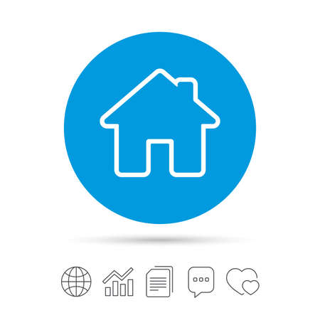 Home sign icon. Main page button. Navigation symbol. Copy files, chat speech bubble and chart web icons. Vector Illustration