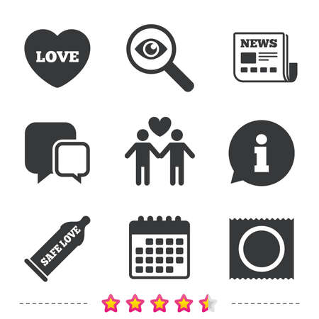 Condom safe sex icons. Lovers Gay couple signs. Male love male. Heart symbol. Newspaper, information and calendar icons. Investigate magnifier, chat symbol. Vector