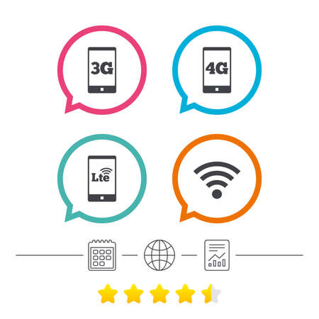 Mobile telecommunications icons. 3G, 4G and LTE technology symbols. Wi-fi Wireless and Long-Term evolution signs. Calendar, internet globe and report linear icons. Star vote ranking. Vector Illustration
