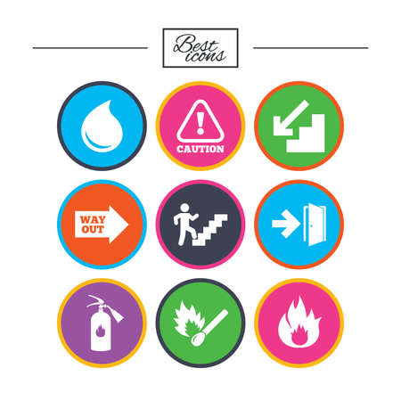 Fire safety, emergency icons. Fire extinguisher, exit and attention signs. Caution, water drop and way out symbols. Classic simple flat icons. Vector Illustration