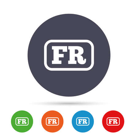 French language sign icon. FR France translation symbol with frame. Round colourful buttons with flat icons. Vector