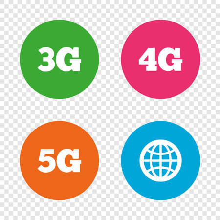 Mobile telecommunications icons. 3G, 4G and 5G technology symbols. World globe sign. Round buttons on transparent background. Vector Reklamní fotografie - 78276952