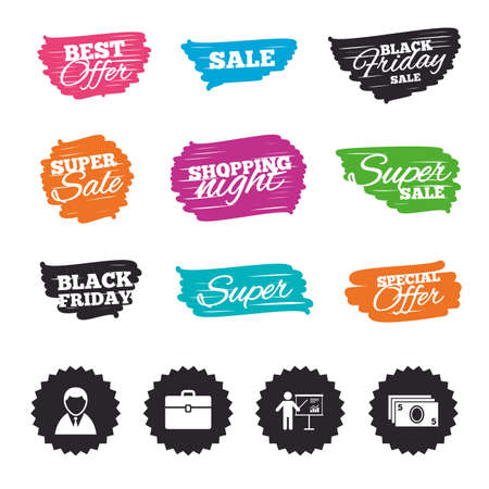 Ink brush sale banners and stripes. Businessman icons. Human silhouette and cash money signs. Case and presentation with chart symbols. Special offer. Ink stroke. Vector