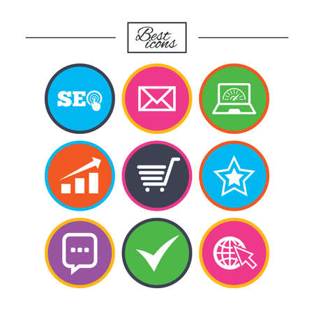 Internet, seo icons. Tick, online shopping and chart signs. Bandwidth, mobile device and chat symbols. Classic simple flat icons. Vector Ilustrace