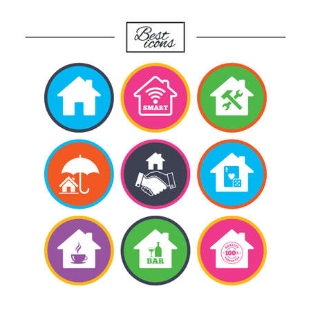 Real estate icons. House insurance, broker and casino with bar signs. Handshake deal, coffee and smart house symbols. Classic simple flat icons. Vector Çizim