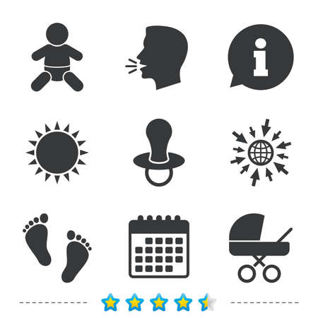 Baby infants icons. Toddler boy with diapers symbol. Buggy and dummy signs. Child pacifier and pram stroller. Child footprint step sign. Information, go to web and calendar icons. Vector
