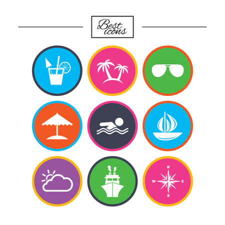 Cruise trip, ship and yacht icons. Travel, cocktails and palm trees signs. Sunglasses, windrose and swimming symbols. Classic simple flat icons. Vector Illustration