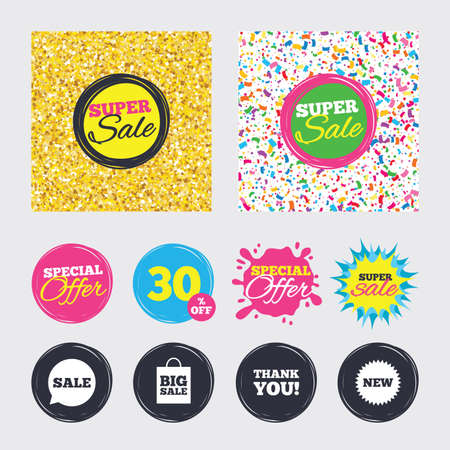 Gold glitter and confetti backgrounds. Covers, posters and flyers design. Sale speech bubble icon. Thank you symbol. New star circle sign. Big sale shopping bag. Sale banners. Special offer splash