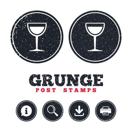 Grunge post stamps. Wine glass sign icon. Alcohol drink symbol. Information, download and printer signs. Aged texture web buttons. Vector Çizim
