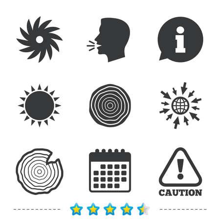 Holz und sah Kreis Rad-Symbole. Achtung Gefahrensymbol. Sägewerk oder Holzfabrik Zeichen. Informationen, gehen Sie zu Web-und Kalender-Icons. Sun und laut sprechen Symbol. Vektor Standard-Bild - 78276929