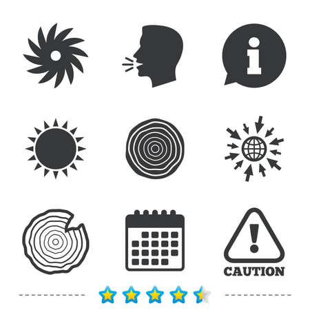 Hout en zag ronde wiel iconen. Aandacht voorzichtigheid symbool. Zagerij en houtbewerking fabriek borden. Informatie, ga naar web en agenda-iconen. Zon en luid spreken symbool. Vector