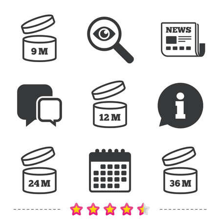 After opening use icons. Expiration date 9-36 months of product signs symbols. Shelf life of grocery item. Newspaper, information and calendar icons. Investigate magnifier, chat symbol. Vector