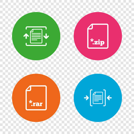 Archive file icons. Compressed zipped document signs. Data compression symbols. Round buttons on transparent background. Vector