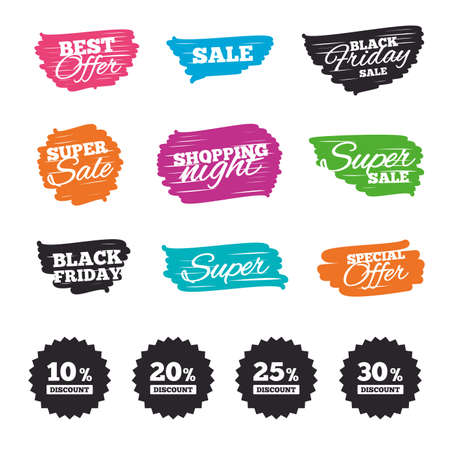 Ink brush sale banners and stripes. Sale discount icons. Special offer price signs. 10, 20, 25 and 30 percent off reduction symbols. Special offer. Ink stroke. Vector Çizim