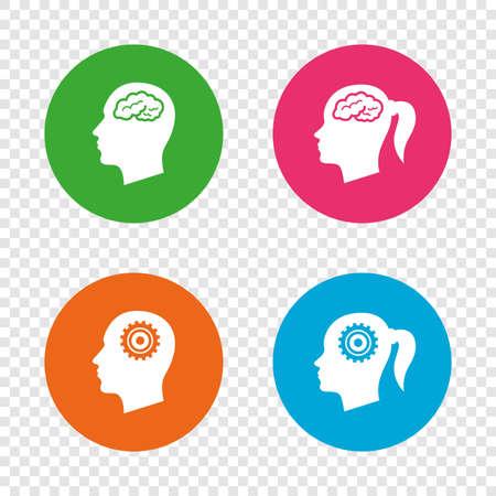 Kopf mit Gehirnsymbol. Männliche und weibliche Menschen denken Symbole. Zahnrad getriebe zeichen. Frau mit Zopf Runde Tasten auf transparentem Hintergrund. Vektor Standard-Bild - 78276826