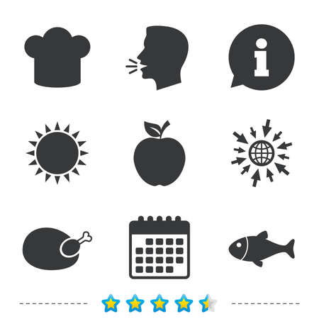 Food icons. Apple fruit with leaf symbol. Chicken hen bird meat sign. Fish and Chef hat icons. Information, go to web and calendar icons. Sun and loud speak symbol. Vector