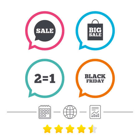 equals: Sale speech bubble icons. Two equals one. Black friday sign. Big sale shopping bag symbol. Calendar, internet globe and report linear icons. Star vote ranking. Vector Illustration