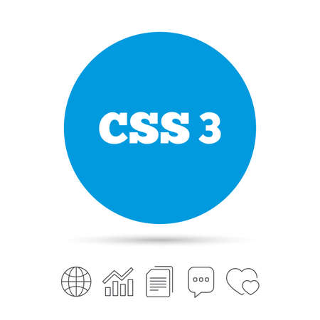 CSS3 sign icon. Cascading Style Sheets symbol. Copy files, chat speech bubble and chart web icons. Vector Illustration