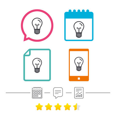 edison: Light bulb icon. Lamp E27 screw socket symbol. Illumination sign. Calendar, chat speech bubble and report linear icons. Star vote ranking. Vector
