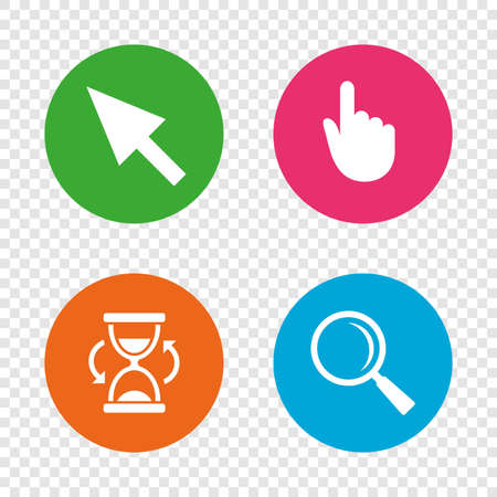 Mouse cursor and hand pointer icons. Hourglass and magnifier glass navigation sign symbols. Round buttons on transparent background. Vector