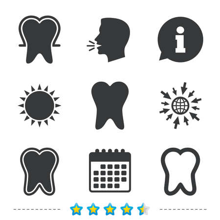 Tooth enamel protection icons. Dental toothpaste care signs. Healthy teeth sign. Information, go to web and calendar icons. Sun and loud speak symbol. Vector Illustration