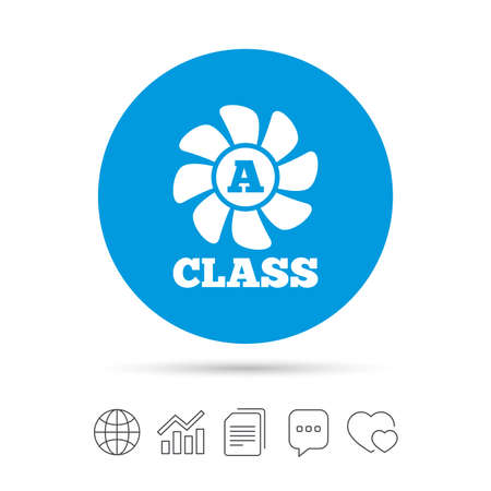 A-class ventilation icon. Energy efficiency sign symbol. Copy files, chat speech bubble and chart web icons. Vector 向量圖像