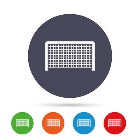 Voetbal poort teken pictogram. Soccer Sport keepersymbool. Ronde kleurrijke knoppen met plat pictogrammen. Vector