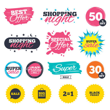 Sale shopping banners special offer splash sale speech bubble icons two equals one
