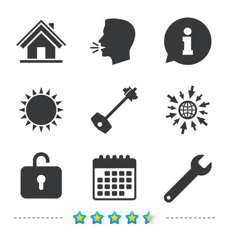 Home key icon. Wrench service tool symbol. Locker sign. Main page web navigation. Information, go to web and calendar icons. Sun and loud speak symbol. Vector