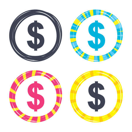 Dollars sign icon. USD currency symbol. Money label. Colored buttons with icons. Poker chip concept. Vector