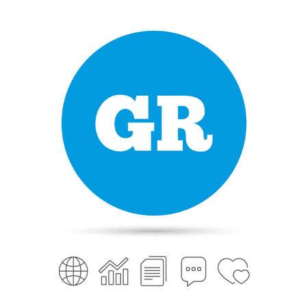 Griekse taal teken pictogram. GR Griekenland vertaalsymbool. Kopieer bestanden, praat tekstballonnen en grafiek web iconen. Vector