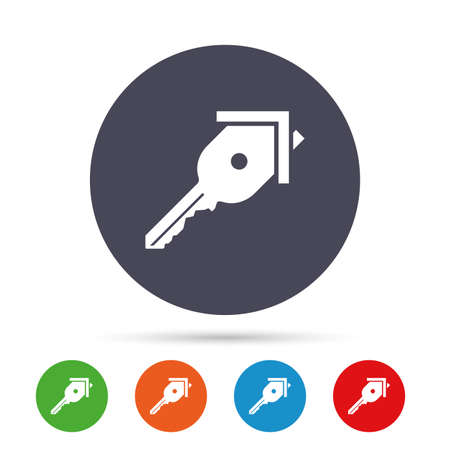 tool unlock: Key from the house sign icon. Unlock tool symbol. Round colourful buttons with flat icons. Vector