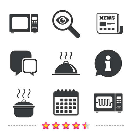 Microwave grill oven icons. Cooking pan signs. Food platter serving symbol. Newspaper, information and calendar icons. Investigate magnifier, chat symbol. Vector Stock Vector - 78276584