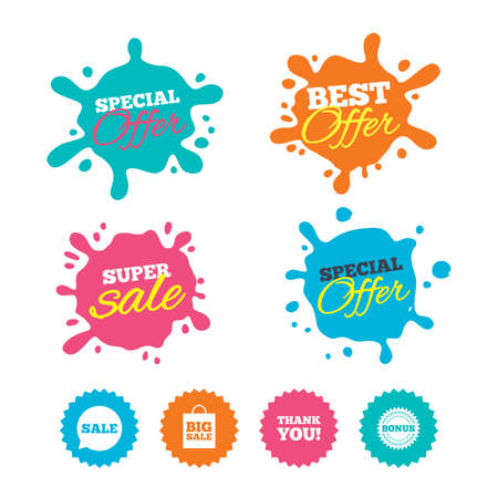Best offer and sale splash banners. Sale speech bubble icon. Thank you symbol. Bonus star circle sign. Big sale shopping bag. Web shopping labels. Vector Ilustrace