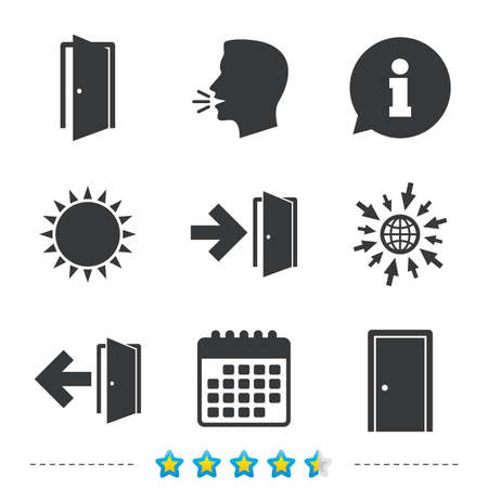 Doors icons. Emergency exit with arrow symbols. Fire exit signs. Information, go to web and calendar icons. Sun and loud speak symbol. Vector Иллюстрация
