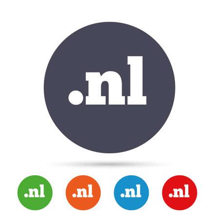 ドメイン NL 記号アイコン。最上位のインターネット ドメインのシンボル。フラット アイコンと丸いカラフルなボタン。ベクトル