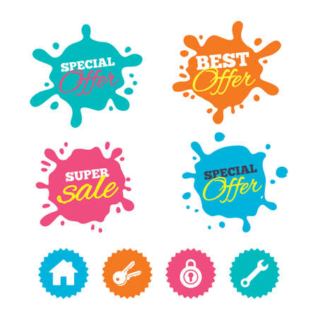 Best offer and sale splash banners. Home key icon. Wrench service tool symbol. Locker sign. Main page web navigation. Web shopping labels. Vector Illustration