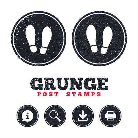Grunge post stamps. Imprint soles shoes sign icon. Shoe print symbol. Information, download and printer signs. Aged texture web buttons. Vector