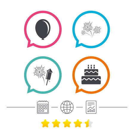 Birthday party icons. Cake and gift box signs. Air balloon and fireworks symbol. Calendar, internet globe and report linear icons. Star vote ranking. Vector
