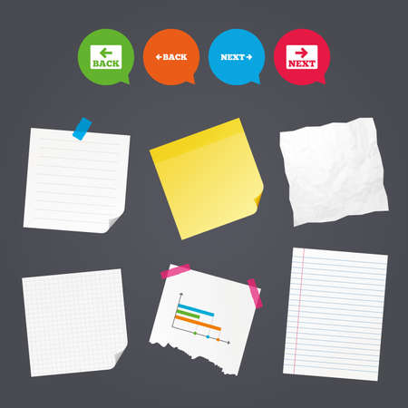 Business paper banners with notes. Back and next navigation signs. Arrow direction icons. Sticky colorful tape. Speech bubbles with icons. Vector