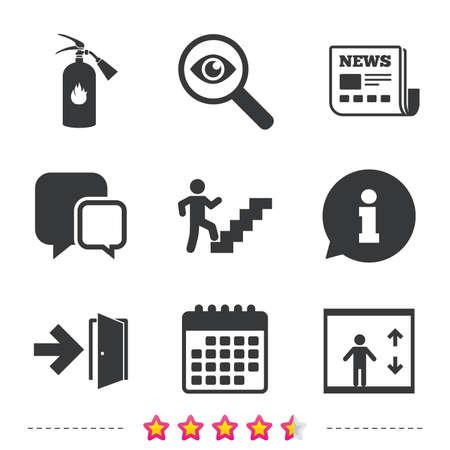 Nooduitgangpictogrammen. Brandblusser teken. Lift of lift symbool. Vuuruitgang door het trappenhuis. Krant, informatie en kalenderpictogrammen. Onderzoek vergrootglas, chat-symbool. Vector