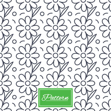 Flower floral texture. Stripped geometric seamless pattern. Modern repeating stylish texture. Abstract minimal pattern background. Vector Çizim